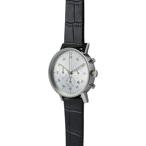 VOID V03C Polished Round Chronograph Silver Watch | Croco Noir Leather V03C-PO/CN/SV