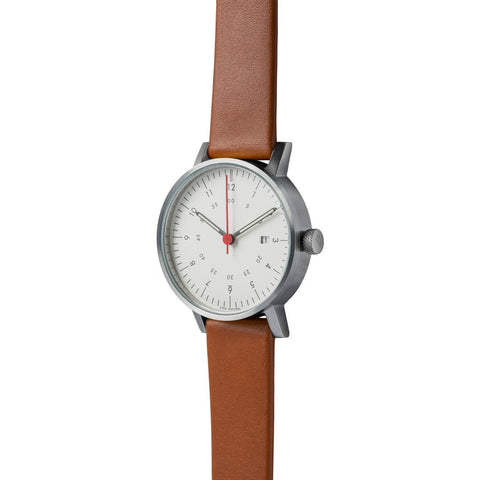 VOID V03D Brushed Round Date White Watch | Light Brown Leather V03D-BR/LB/WH