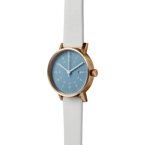 VOID V03D Copper Round Date Light Blue Watch | Grey Leather V03D-CO/GY/NY