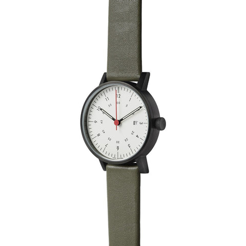 VOID Black Round Black Date Watch | Olive leather V03D-BL/OL/WH