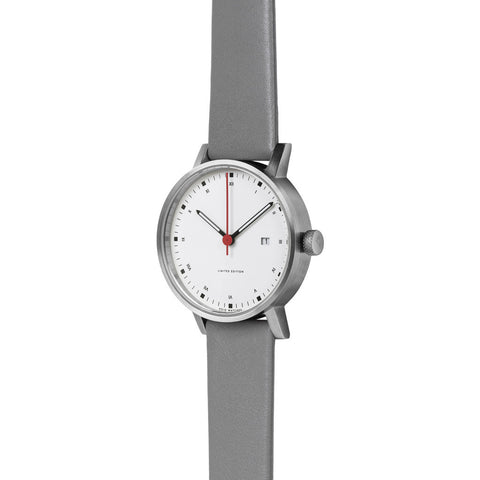 VOID V03D Metis Brushed Round White Watch | Grey Leather