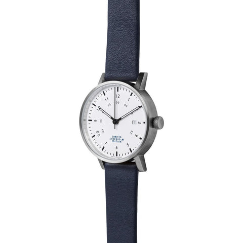 VOID V03D Stockholm Brushed Round White Watch| Royal Blue Leather