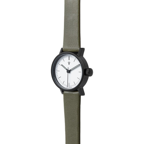 VOID Satin Black Round White Petite Watch | Olive leather V03P-BL/OL/WH