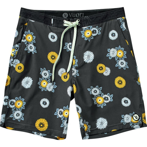 Vuori Equator Board Shorts | Black Floral 30 V337.01