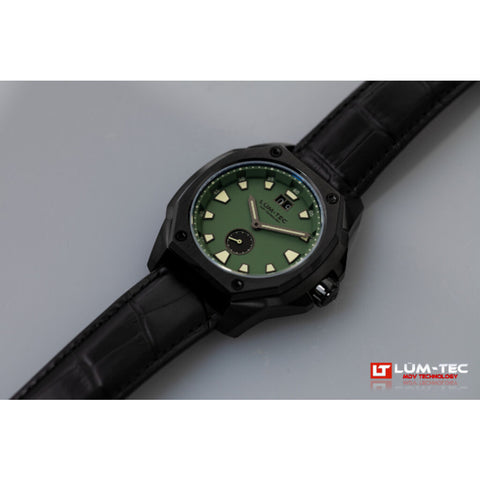 Lum-Tec V9 Big Date Watch | Black Croc Leather Strap