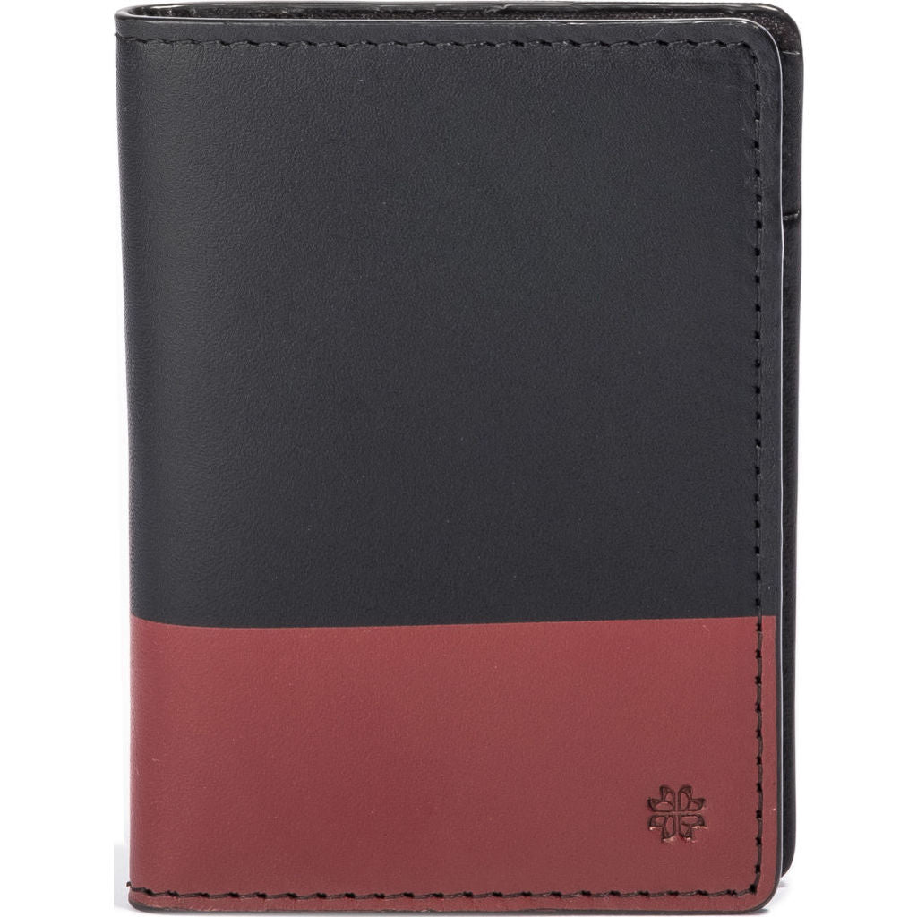 Hook & Albert Color Dipped Vertical Bi-Fold Wallet | Black & Red VBFCDBLK-RED-OS