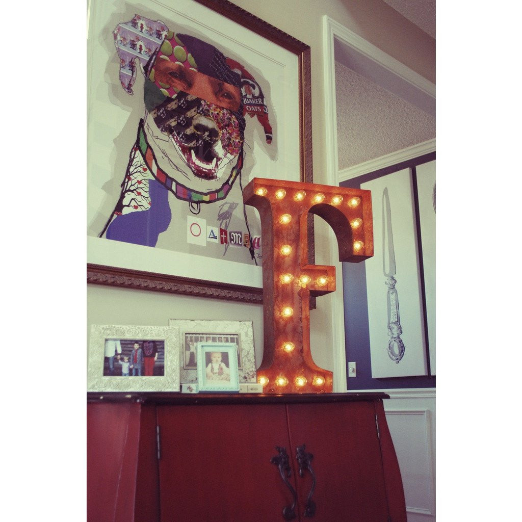 "Vintage Marquee Lights 24"" Letter F Decorative Light 