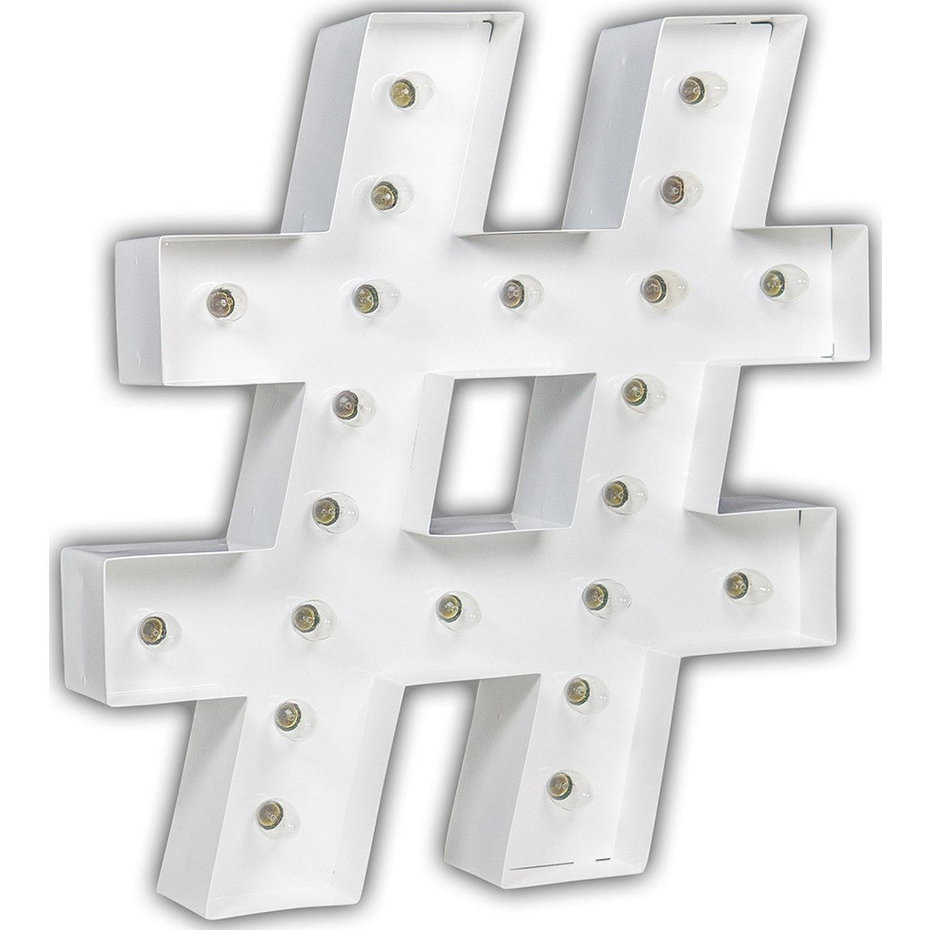"Vintage Marquee Lights 24"" Hashtag Decorative Light 