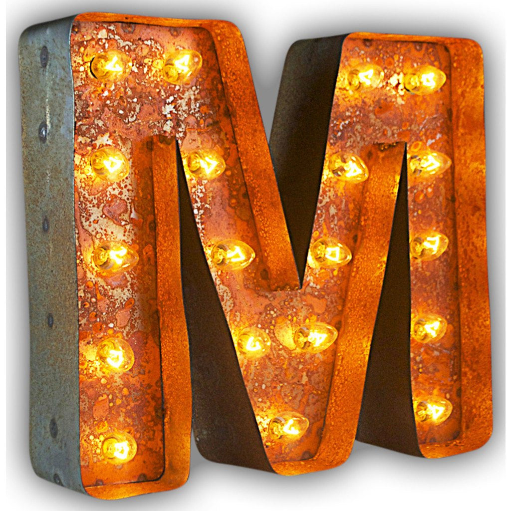 "Vintage Marquee Lights 12"" Letter M Decorative Light 