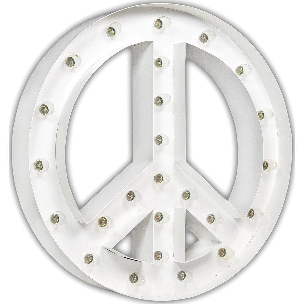"Vintage Marquee Lights 24"" Peace Sign Decorative Light 