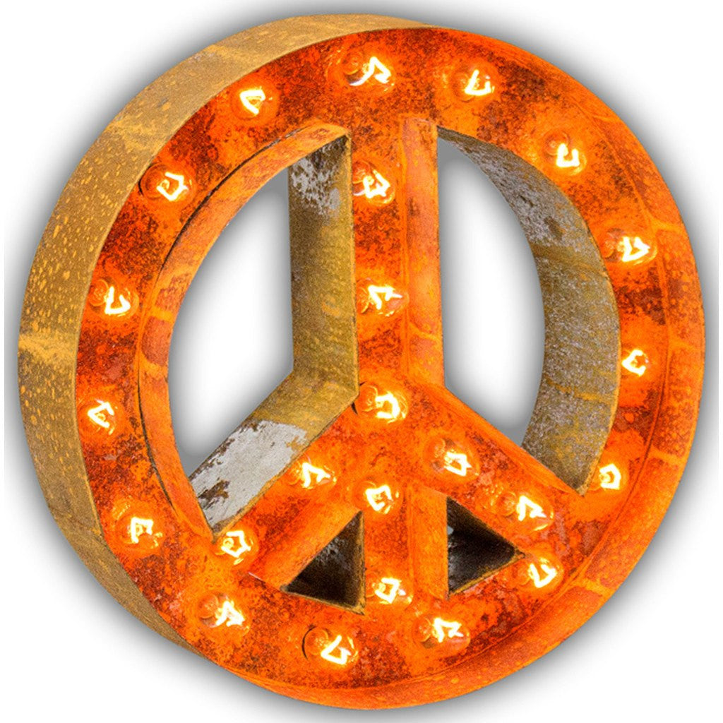 "Vintage Marquee Lights 12"" Peace Sign Decorative Light 