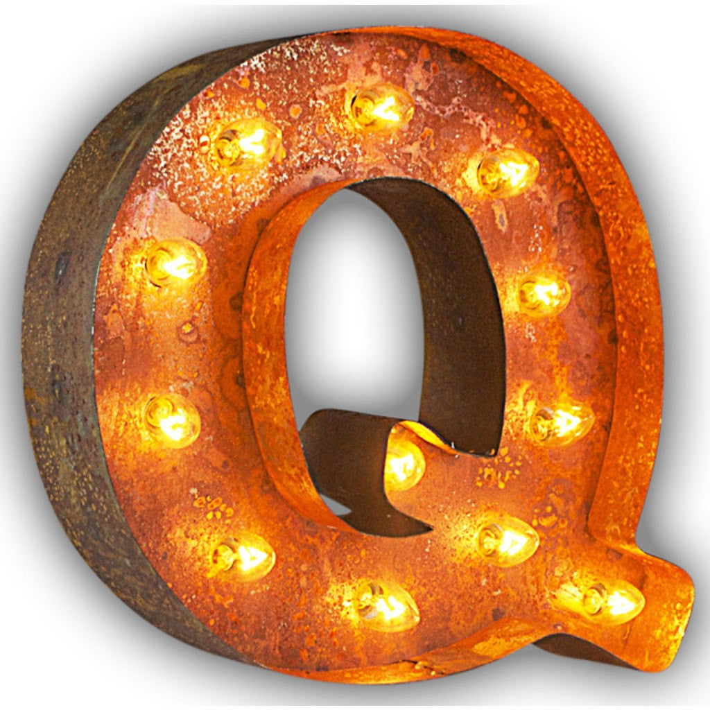 "Vintage Marquee Lights 12"" Letter Q Decorative Light 