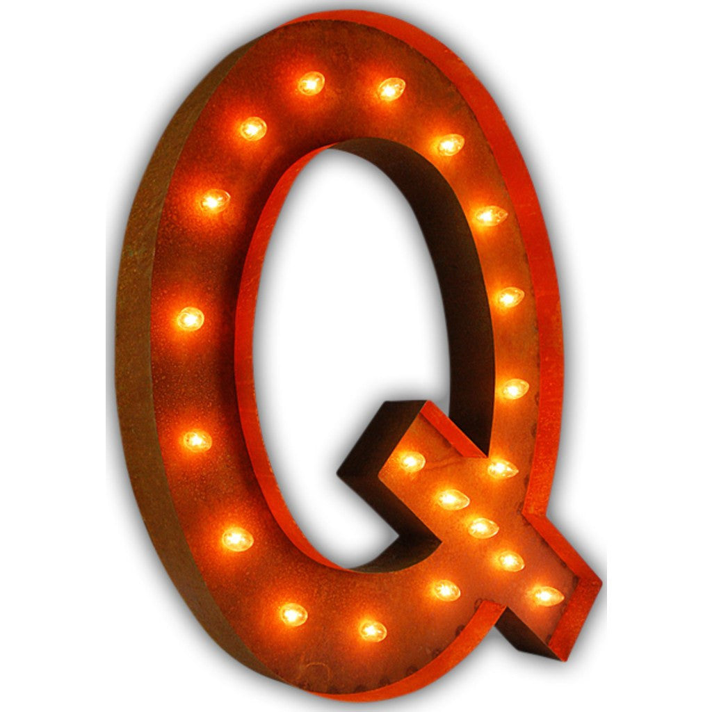 "Vintage Marquee Lights 36"" Letter Q Decorative Light 