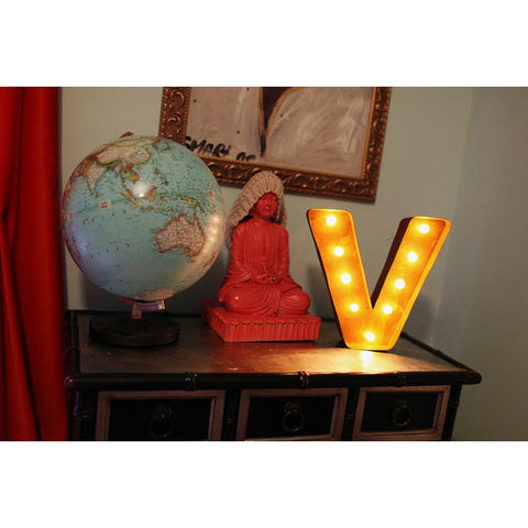 "Vintage Marquee Lights 12"" Letter V Decorative Light 