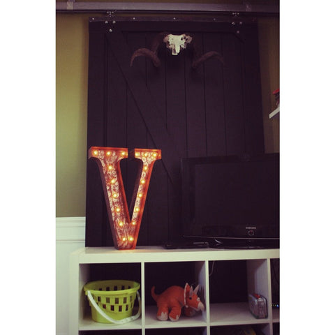 "Vintage Marquee Lights 24"" Letter V Decorative Light 