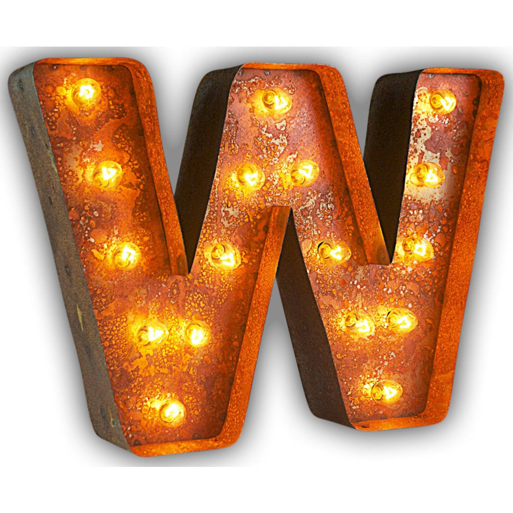 "Vintage Marquee Lights 12"" Letter W Decorative Light 