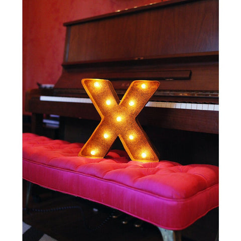 "Vintage Marquee Lights 12"" Letter X Decorative Light 