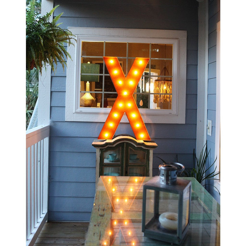 "Vintage Marquee Lights 36"" Letter X Decorative Light 