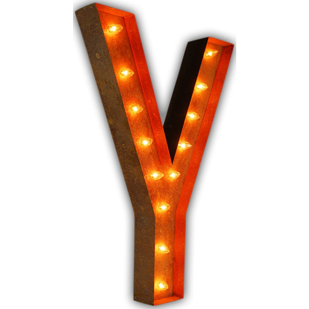 "Vintage Marquee Lights 36"" Letter Y Decorative Light 