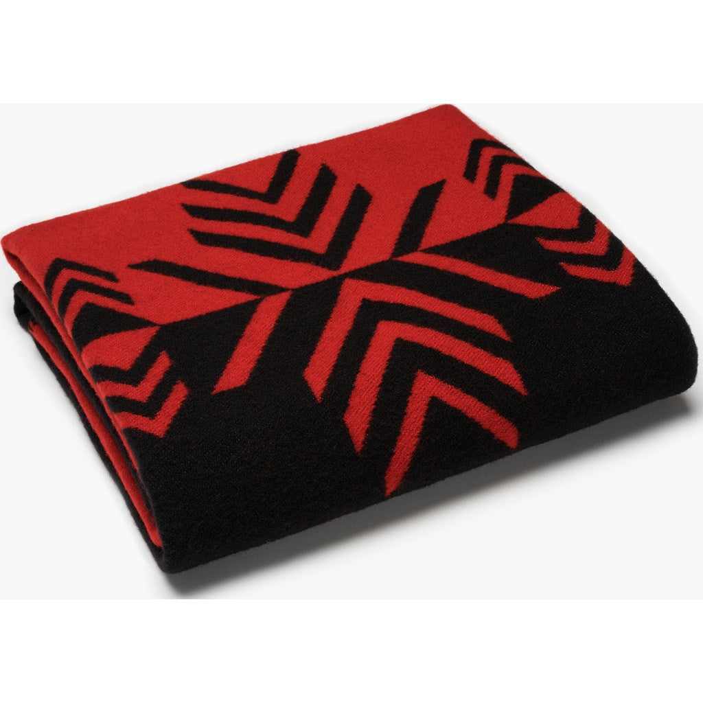 Faribault Vermillion Mirror Wool Throw | Black/Red 16682 50x72