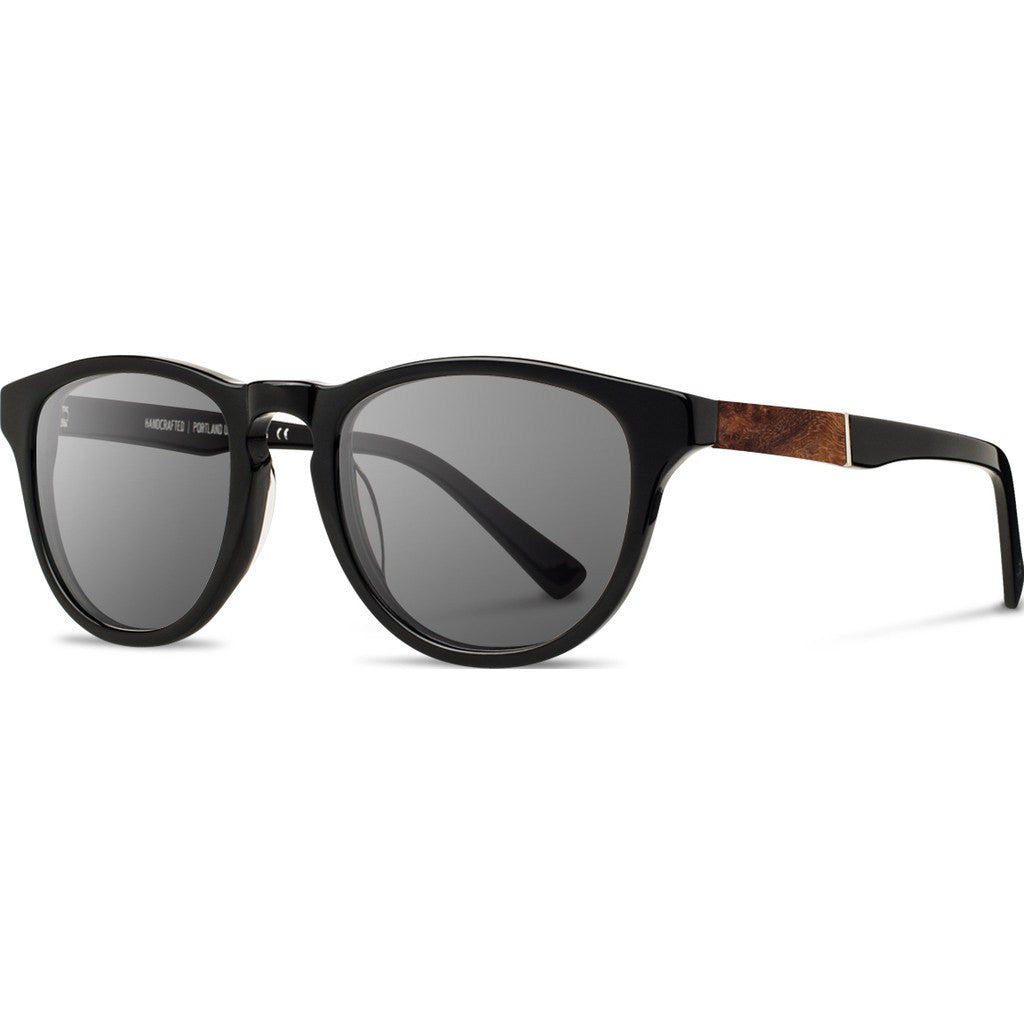 Shwood Francis Acetate Sunglasses | Black & Elm Burl / Grey Polarized WAFBELGP