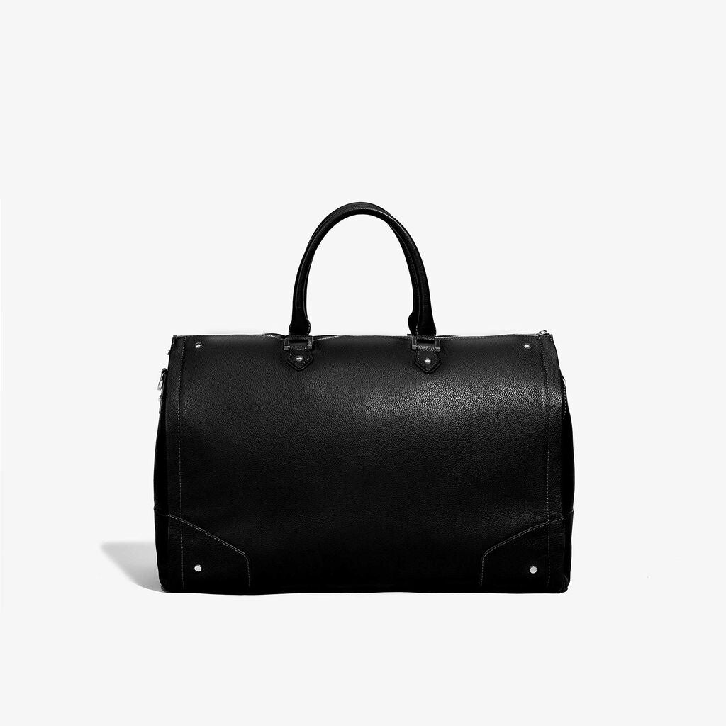 Hook & Albert Women's Garment Weekender Bag | Leather Black w/ Gunmetal Zipper LDGWB-BLK-GNM