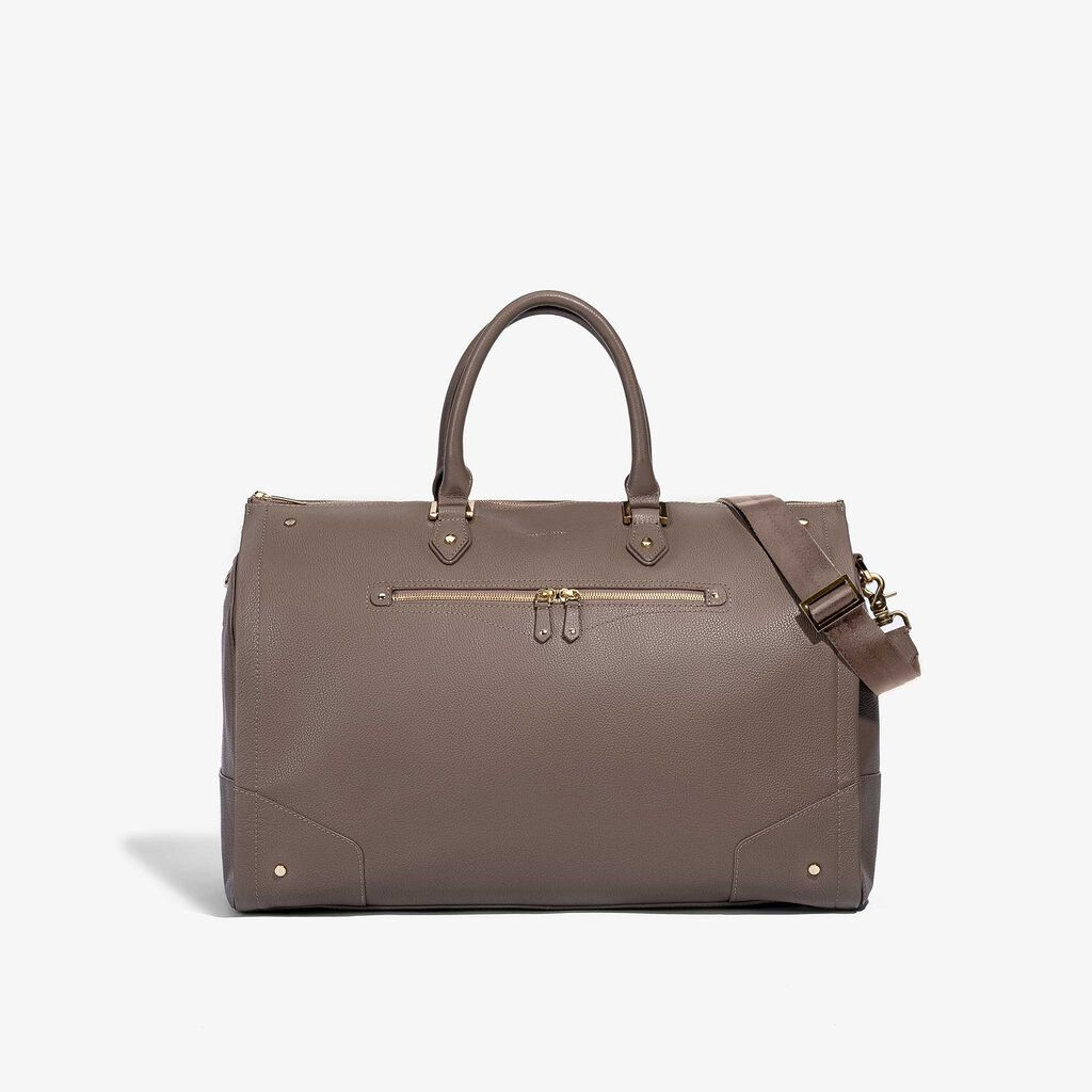 Hook & Albert Women's Garment Weekender Bag | Leather Taupe w/ Gunmetal Zipper LDGWB-TUP-GNM