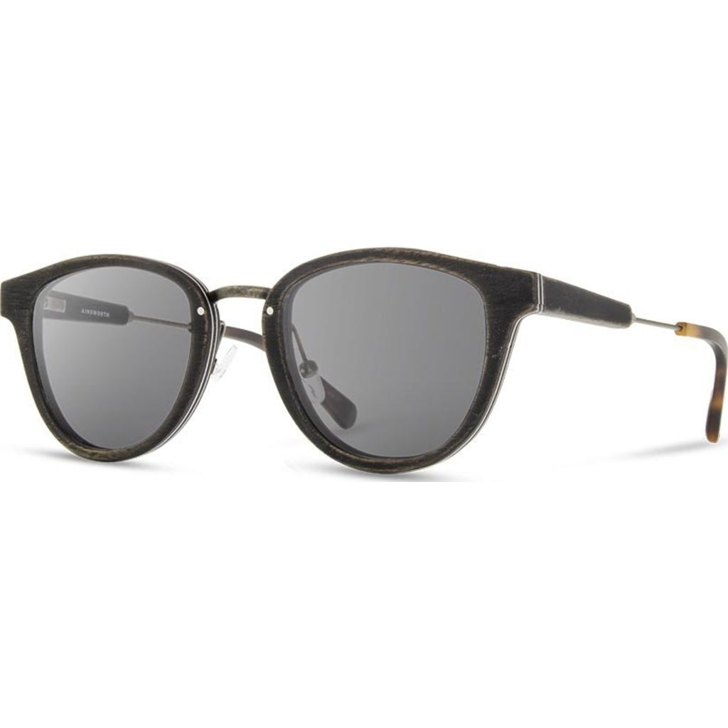 Shwood Ainsworth Sunglasses | Distressed Dark Walnut/Antique Brass -Grey Polarized WOADDWGP