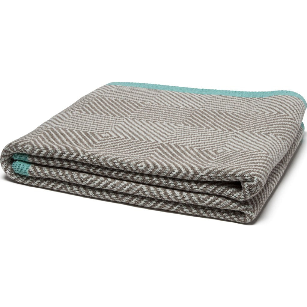 in2green Woven Square Eco Throw | Hemp/Milk/Seafoam BL01WS3