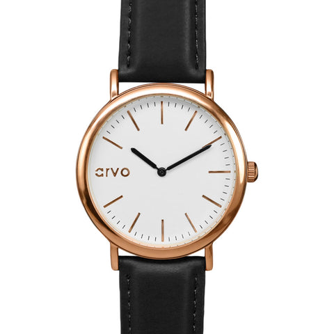 Arvo White Time Sawyer Watch | Rose/Black- WTSRCBL