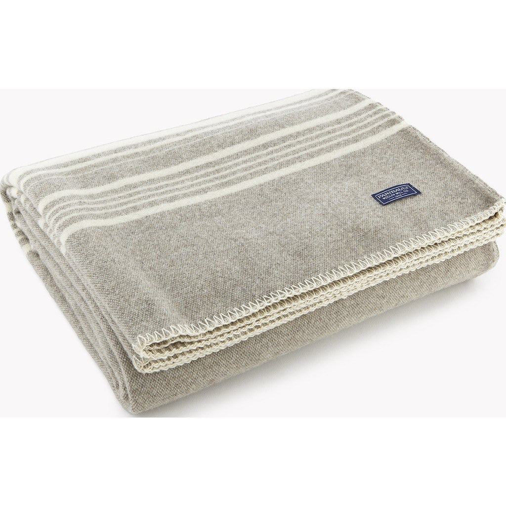 "Faribault Weekender Stripe Wool Throw | Silver/Bone 12257 50"" x 72"""