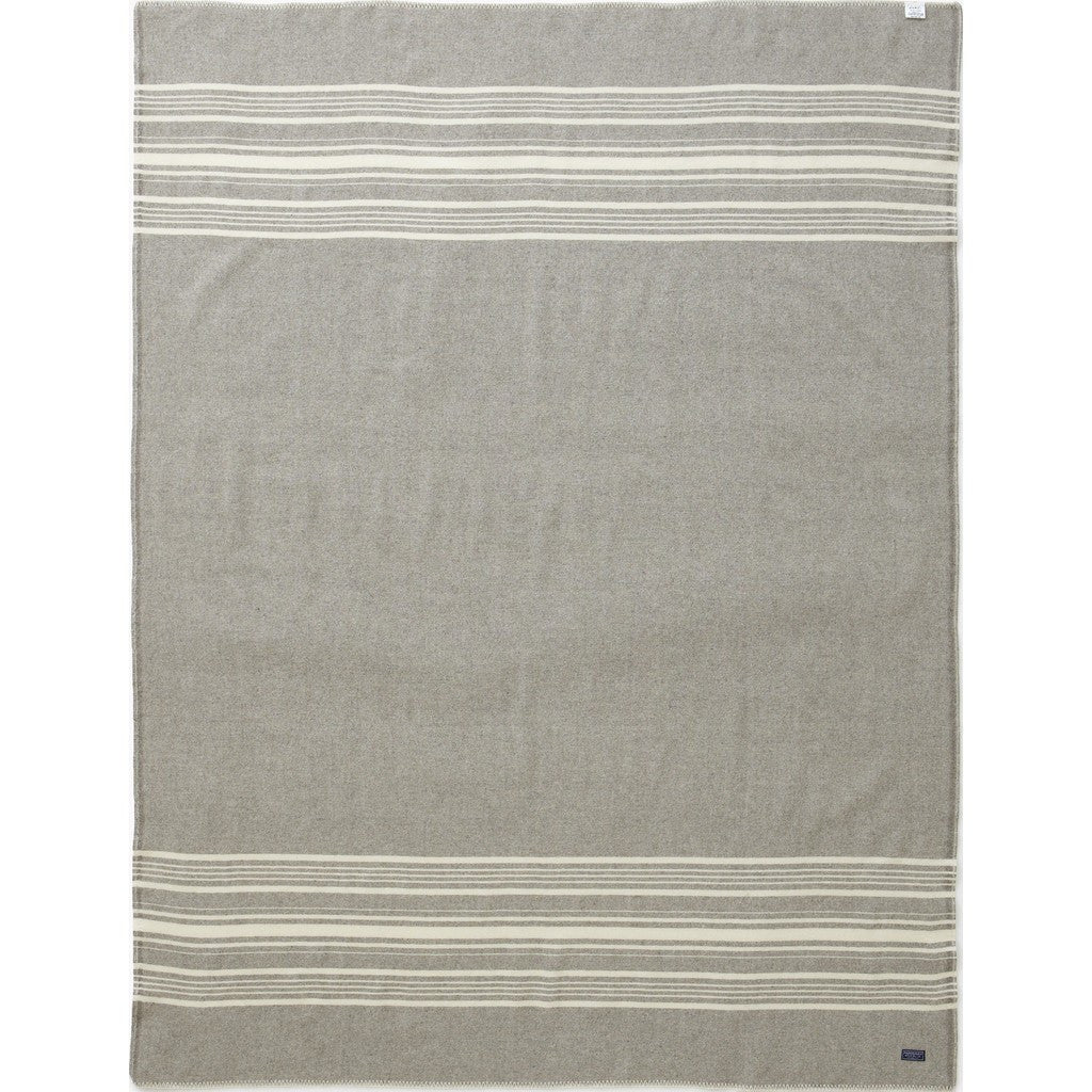Faribault Weekender Stripe Wool Throw | Silver/Bone