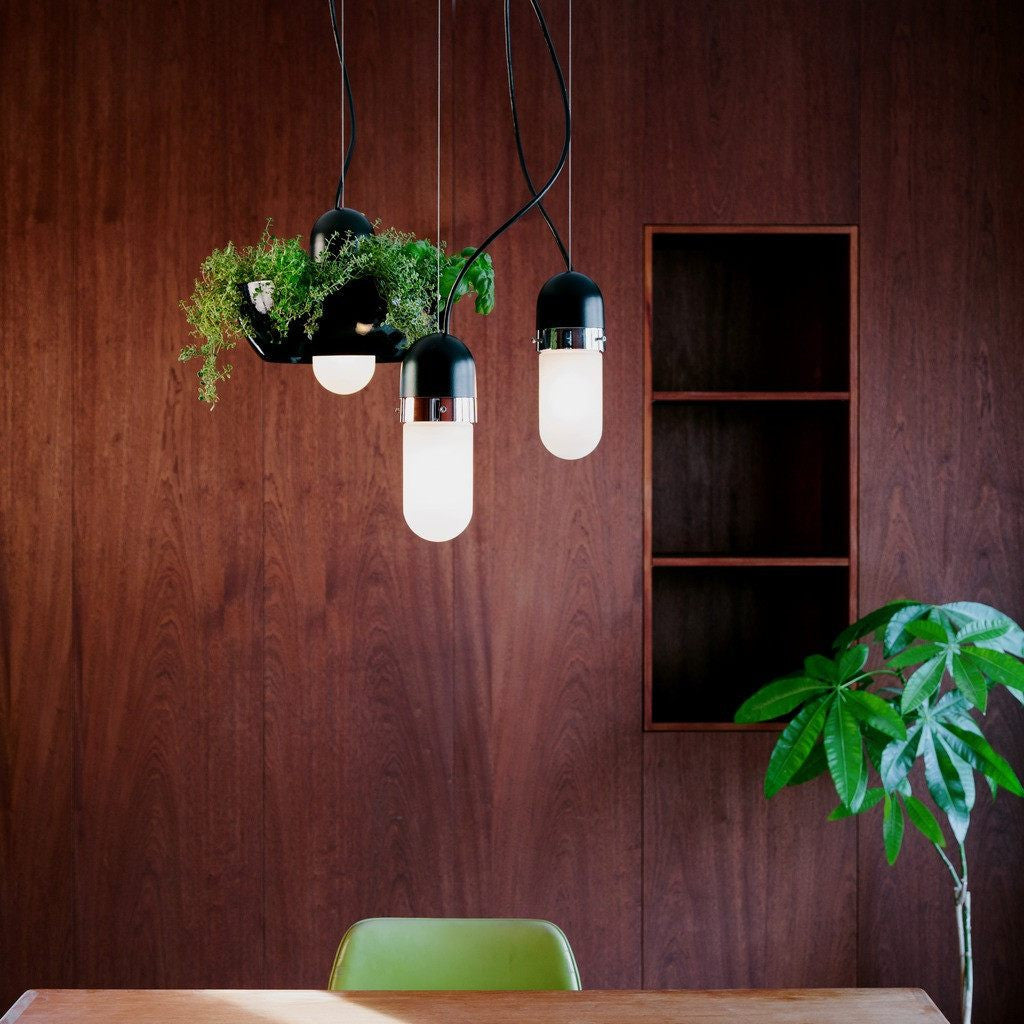 Object/Interface Well Light Planter | Black/Black/White WL1-BBW