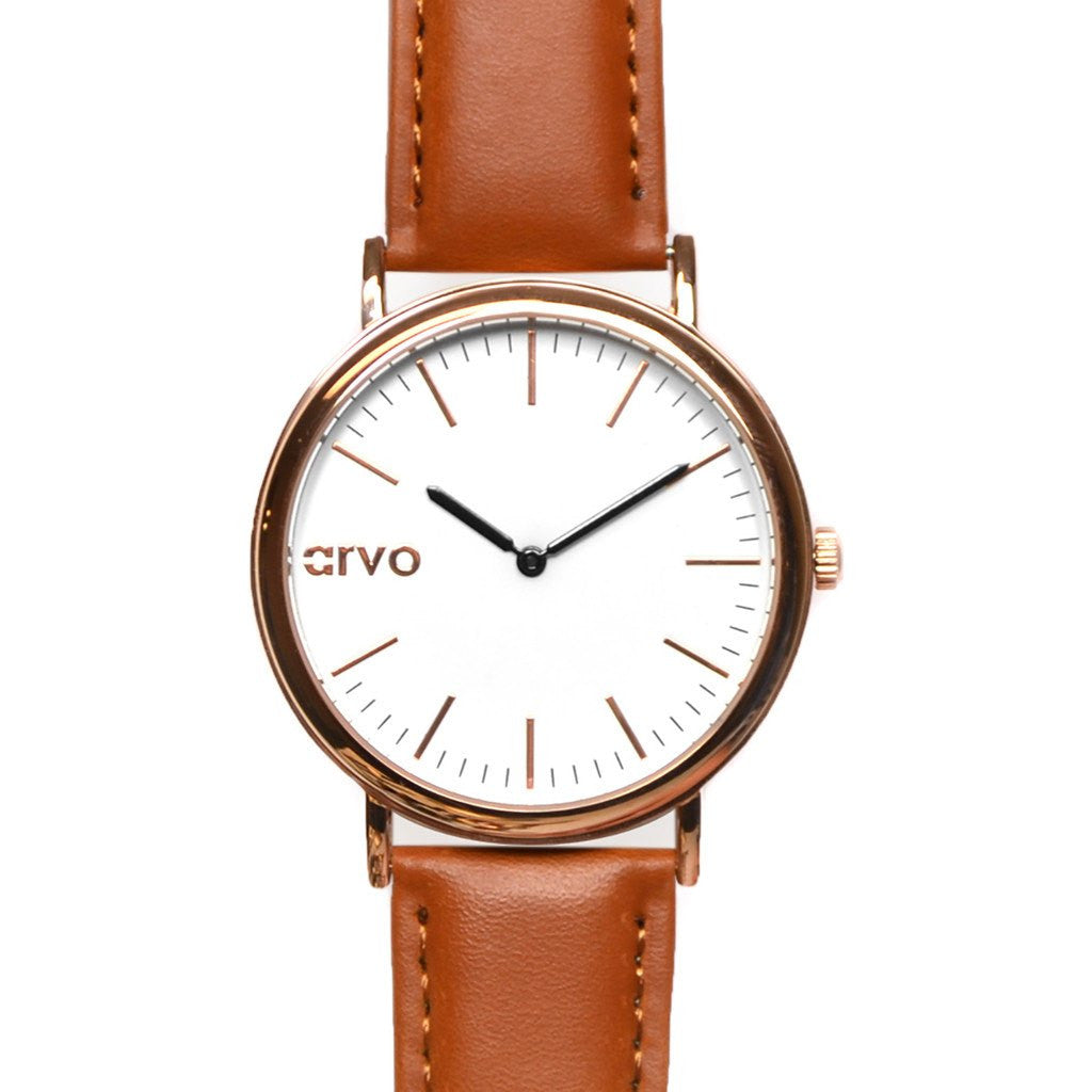 Arvo White Time Sawyer Watch | Rose/Brown WTSRCBR