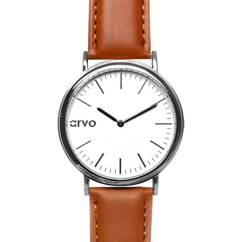 Arvo White Time Sawyer Watch | Silver/Brown WTSSCBR