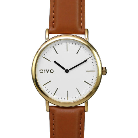 Arvo White Time Sawyer Watch | Gold/Brown WTSBR