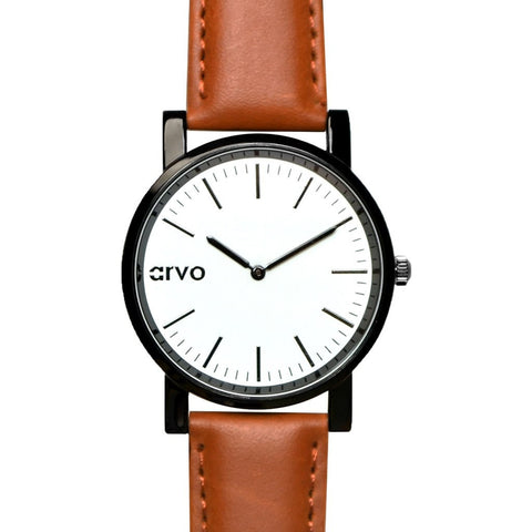 Arvo White Timeus Edison Watch | Black/Brown WTEBR