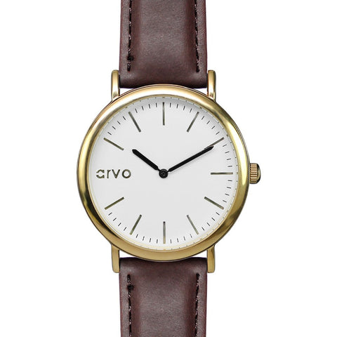 Arvo White Time Sawyer | Gold/Espresso