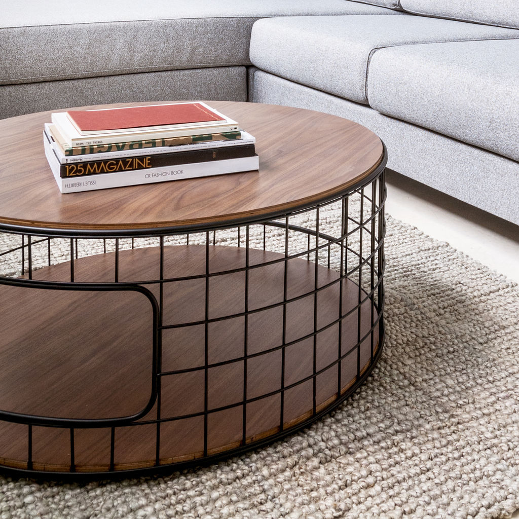 Gus* Modern Wireframe Coffee Table | Black/Walnut ECCTWIRE-bp-wn
