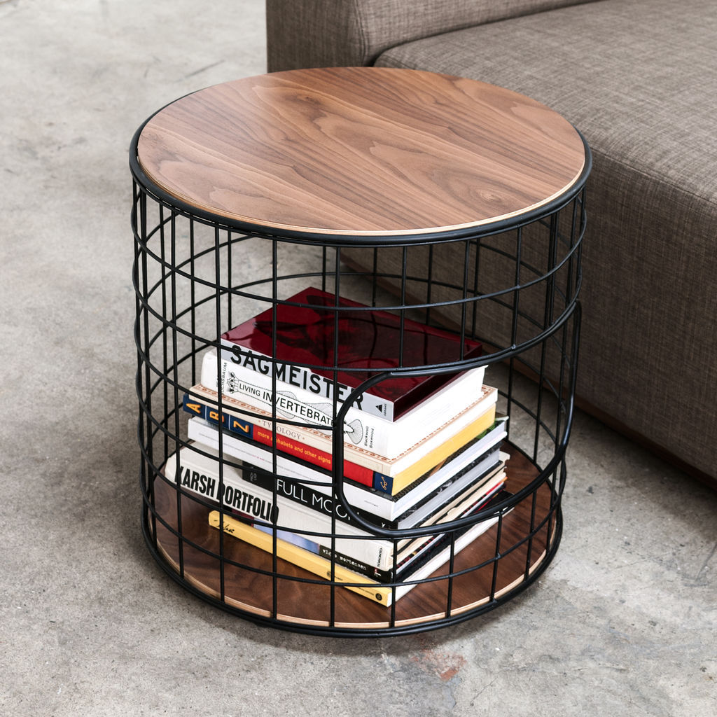 Gus* Modern Wireframe End Table | Black/Walnut ECETWIRE-bp-wn