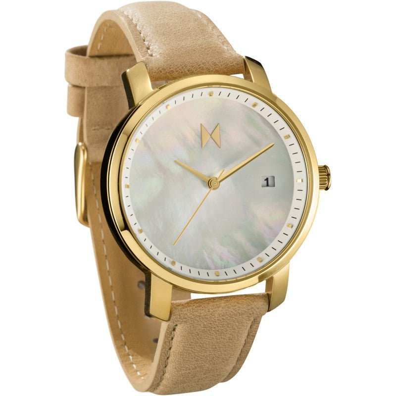 MVMT Womens Watch | Gold Pearl Leather