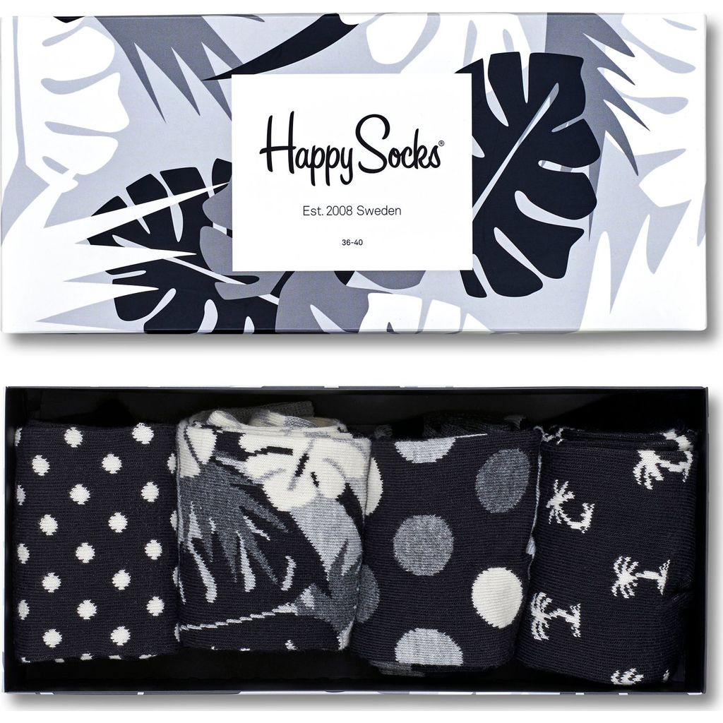 Happy Socks Tropical Sock Gift Box | Black & White