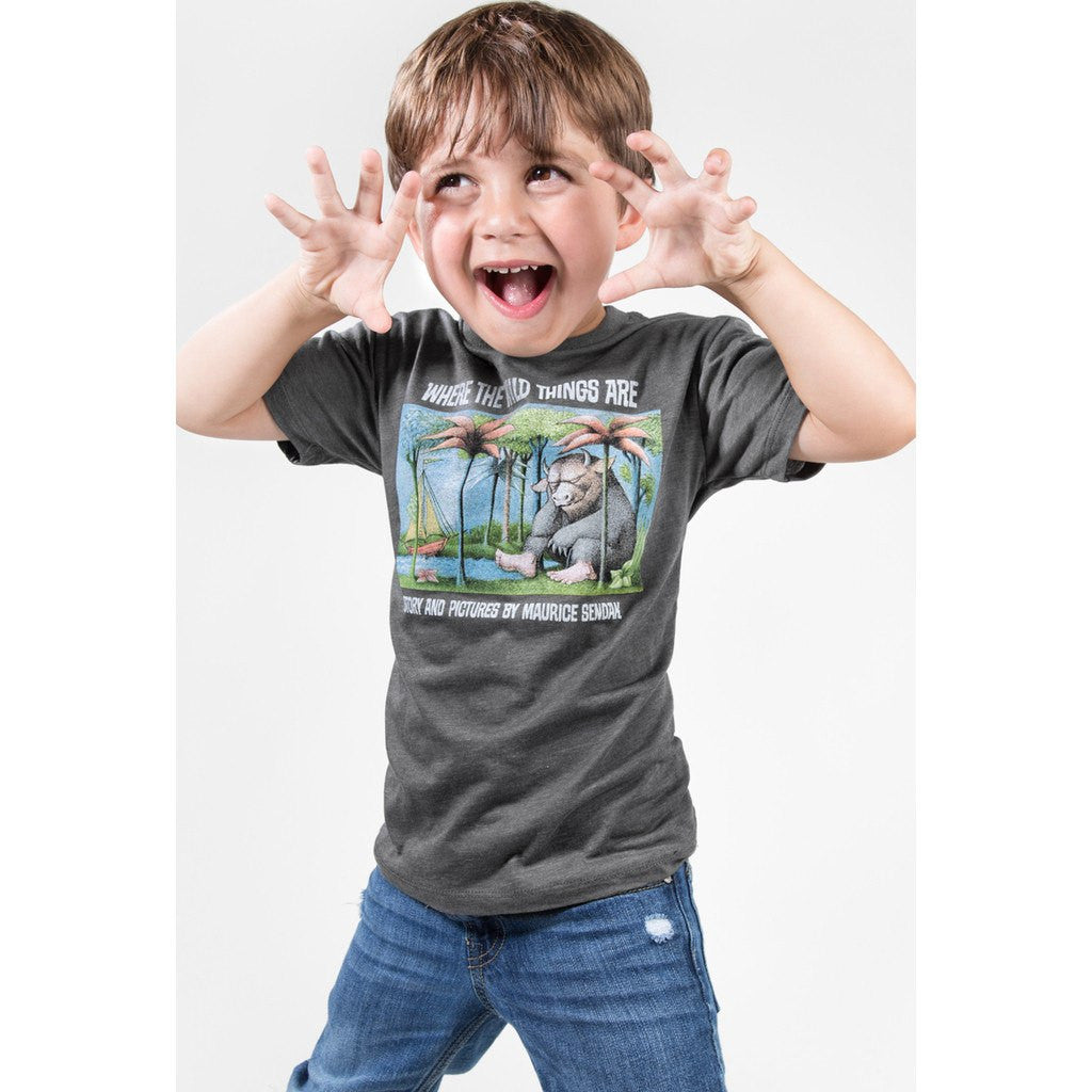 92878650 ... Out of Print Where the Wild Things Are Kid's T-Shirt   Charcoal Y- ...