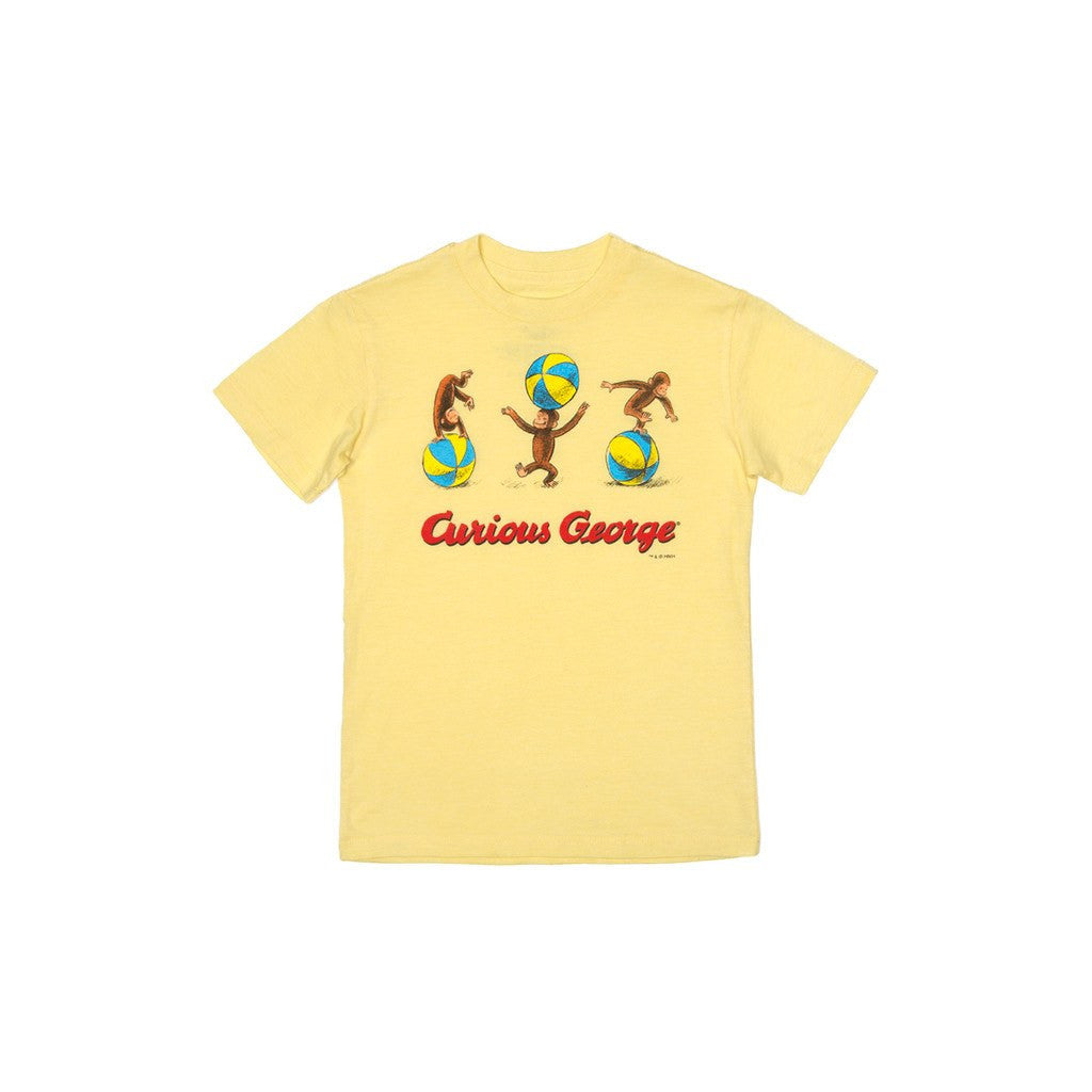 Out of Print Curious George Kid's T-Shirt | Yellow Size 4,6 Y-1033
