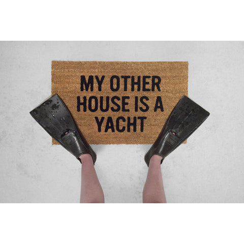 Reed Wilson Design My Other House is a Yacht Doormat | Flocked Lettering DRMT108