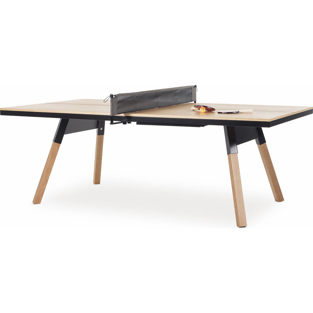 RS Barcelona You & Me Medium Wooden Top Ping Pong Table | Oak/Black