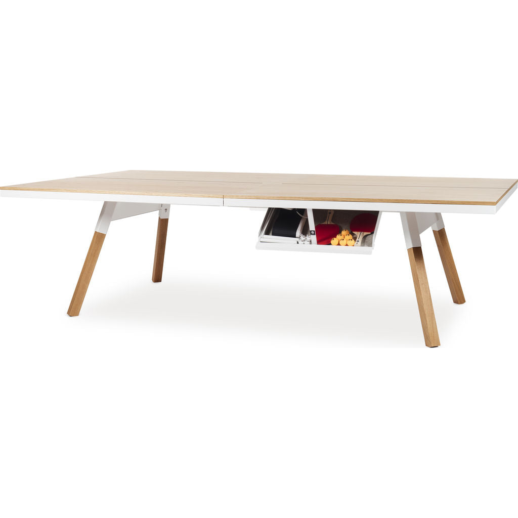 ... RS Barcelona You U0026 Me Standard Wooden Top Ping Pong Table | Oak/White  ...