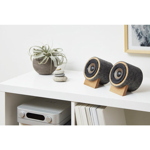 Well Rounded Sound Yorkie Speaker Set | Oak/Dark Gray Yorkie O/DG