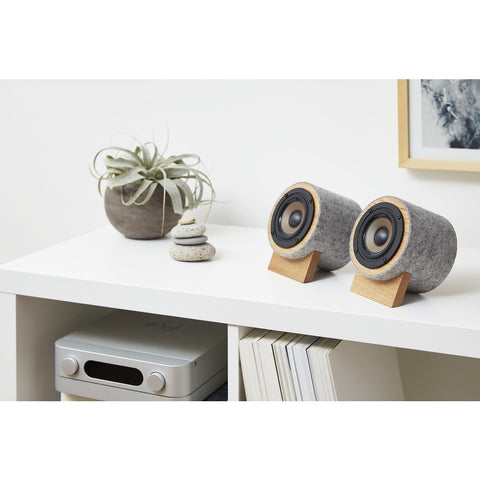 Well Rounded Sound Yorkie Speaker Set | Oak/Light Gray Yorkie O/LG