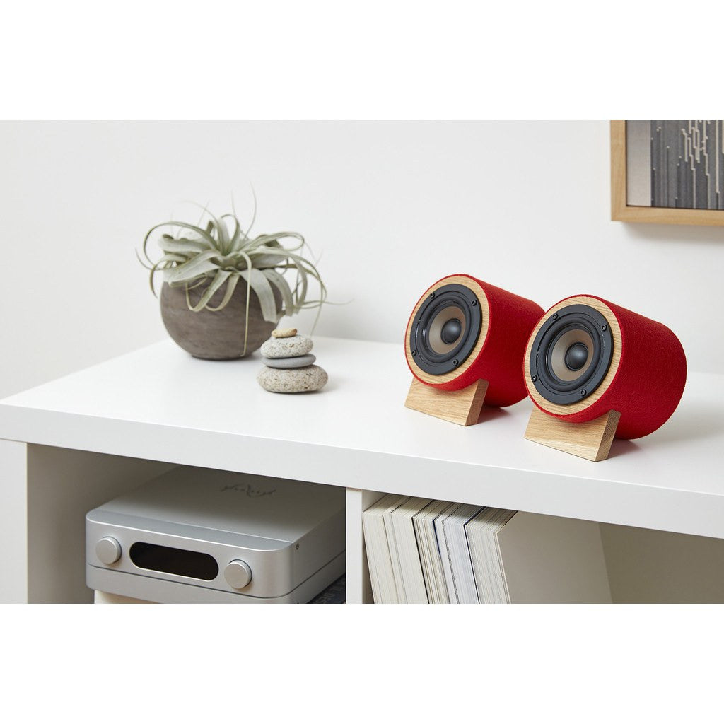 Well Rounded Sound Yorkie Speaker Set | Oak/Red Yorkie O/R